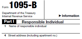 "Partial image of the 1095-B, upper corner highlighting the form title ""Form 1095-B"""